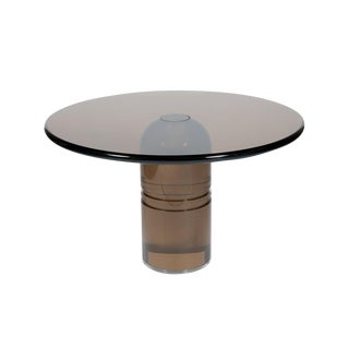 "RARE 1970S CHARLES HOLLIS JONES ""LE DOME"" DINING TABLE IN SMOKED LUCITE For Sale"