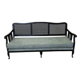 Large Black Wicker and Wood High Back Bench For Sale