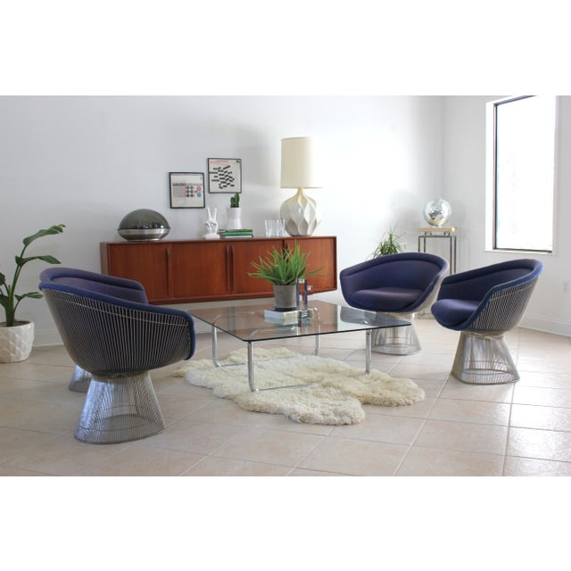 Warren Platner for Knoll Blue Upholstered Platner Lounge Chairs- a Pair For Sale - Image 9 of 10
