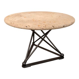 Metal Base in Pewter Finish With Fossil Shell Limestone Top Table For Sale