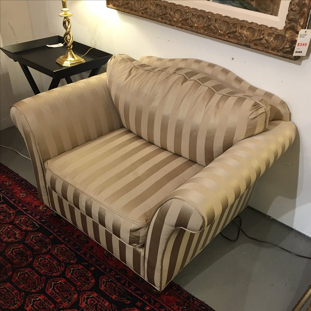 Z- Gallerie Upholstered Striped Cream Chair - Image 4 of 8