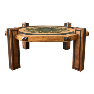 Maitland-Smith Style Arts & Crafts Leather Coffee Table For Sale