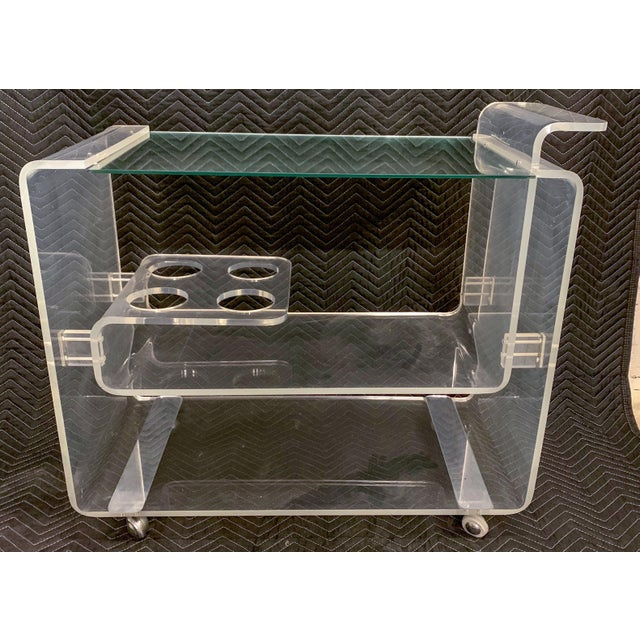 Lucite Bar Cart Att. To Lion in Frost For Sale In Atlanta - Image 6 of 7