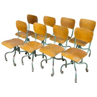 Set of Eight Plywood Rolling School Chairs For Sale