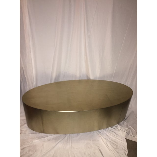 Hollywood Regency Gold Leaf Oval Coffee Table - Image 11 of 11