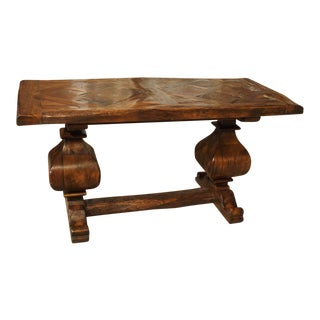 French Oak Sofa Table with Parquet Top
