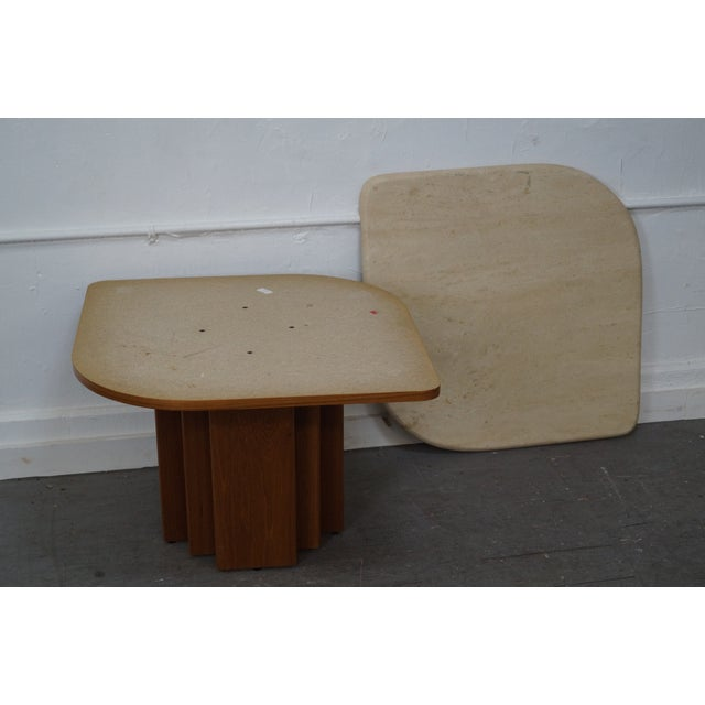 Danish Modern Teak & Travertine Coffee Table - Image 8 of 9