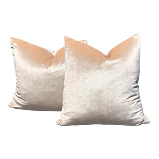 Pink Velvet Down Pillows With Zipper Knife Edge - a Pair For Sale
