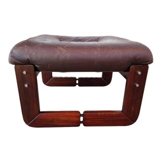 Leather Footstool by Percival Lafer For Sale