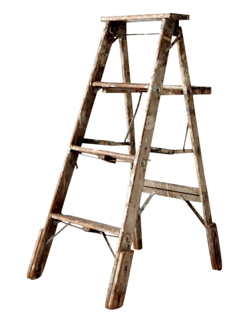 Vintage Rustic Wooden Painter S Ladder Chairish