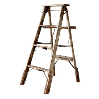 Vintage Rustic Wooden Painter's Ladder