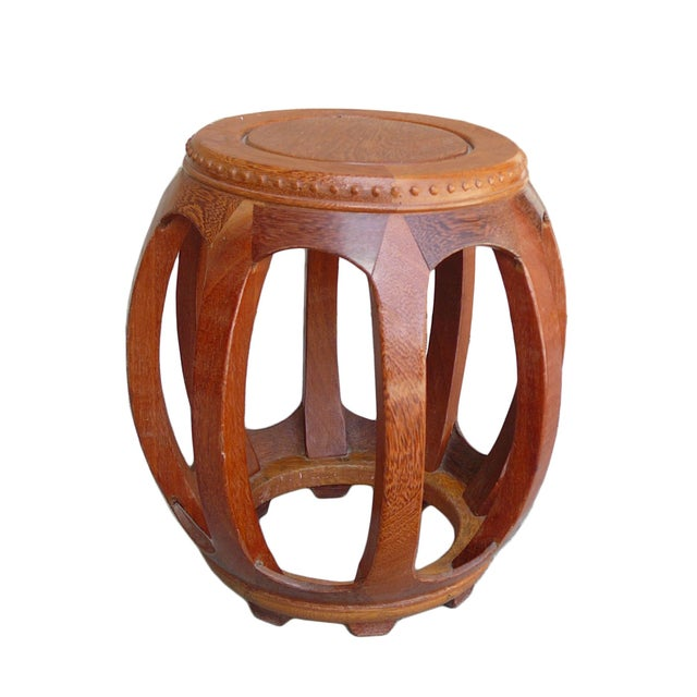 Asian Chinese Solid Wood Huali Barrel Round Stool For Sale - Image 3 of 5