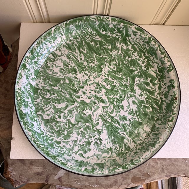 1990s Large Enamelware Marbleized Metal Tray For Sale - Image 5 of 8