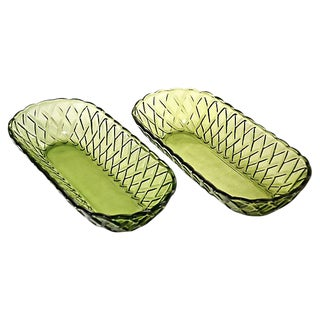 Green Oval Basket Weave Glass Bowls - a Pair For Sale