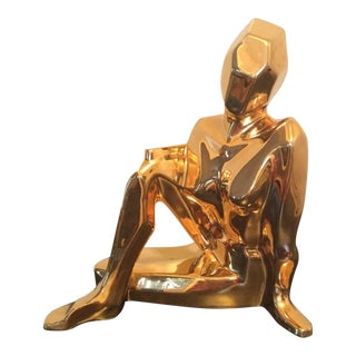 Vintage Signed Jaru Gold Nude Woman Figurine Statue