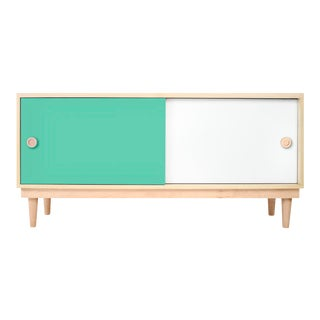 Nico & Yeye Luke Modern Kids Credenza Console Solid Maple and Maple Veneers Mint For Sale