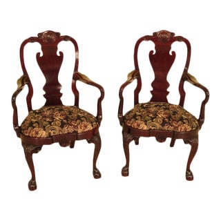 Kindel Winterthur Collection Mahogany Clawfoot Armchairs - a Pair