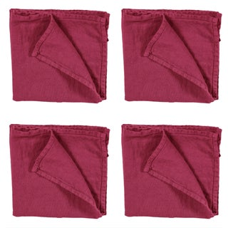 Once Milano Linen Napkins in Fuchsia - Set of 4 For Sale
