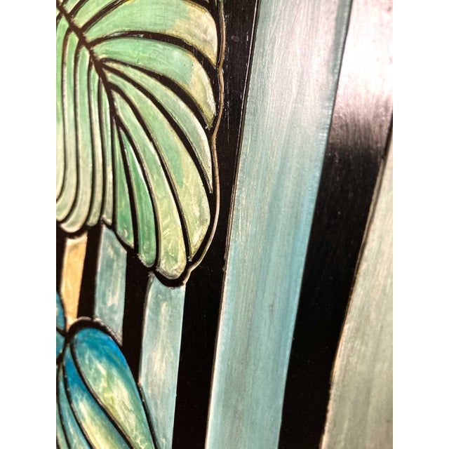 1980s Art Deco Hand Painted and Carved 4-Panel Room Divider For Sale - Image 4 of 6