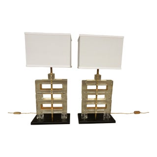 Italian Lucite Table Lamps-A Pair For Sale