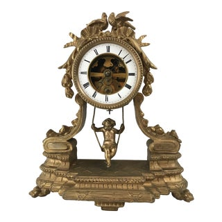 19th Century French Swinging Cherub Pendulum Clock For Sale