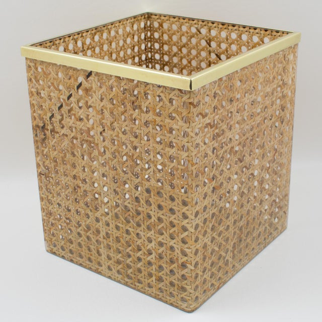 Christian Dior Home Collection 1970s Lucite and Rattan Waste Basket For Sale In Atlanta - Image 6 of 11