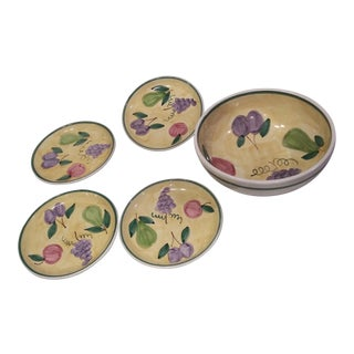 1960s Yellow Caleca Hand Painted Italian Plates - Set of 5 For Sale