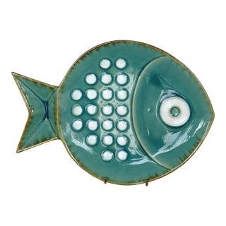 Large Modern Glazed Ceramic Fish Plate For Sale