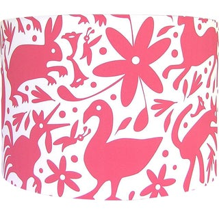Otomi Style Red Drum Lamp Shade
