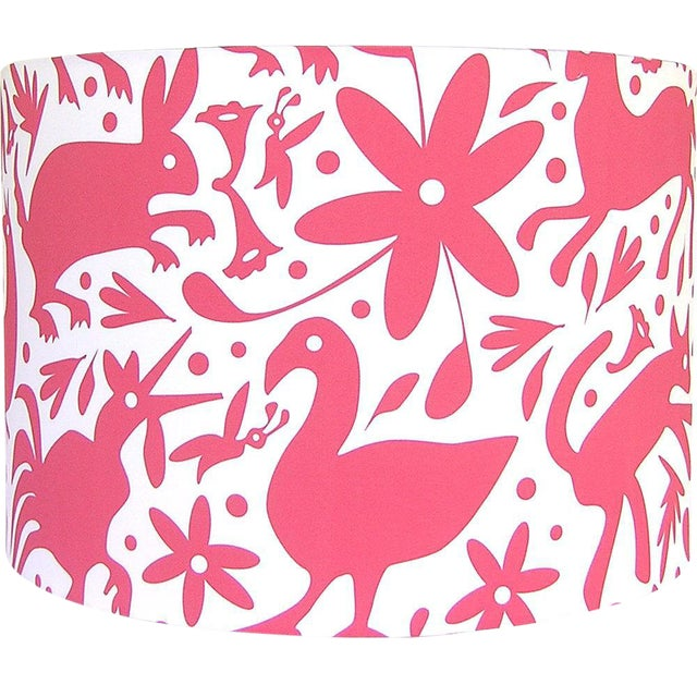 Otomi Style Red Drum Lamp Shade For Sale