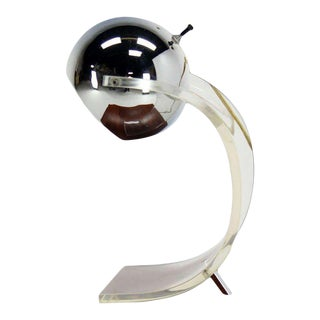 Vintage Mid Century Chrome Globe and Lucite Base Table Lamp For Sale
