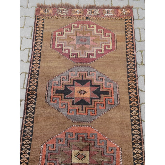 Hand Knotted Turkish Runner Rug - 3′7″ × 11′9″ - Image 7 of 9