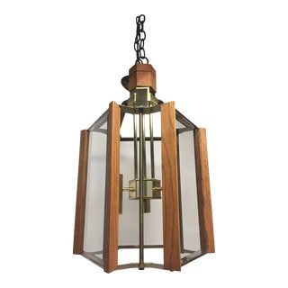 Frederick Ramond Brass and Teak Chandelier, 1970s
