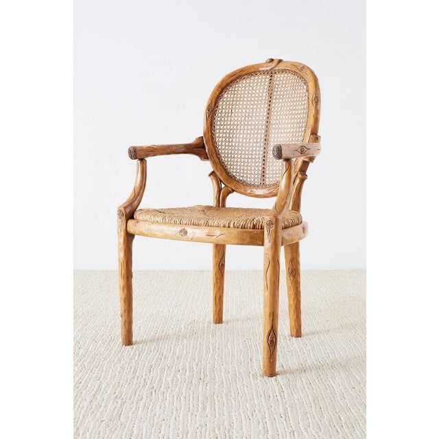 Late 20th Century William Switzer Faux Bois Cane and Rush Seat Armchairs For Sale - Image 5 of 13