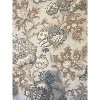 Scalamandre Canterbury Linen Print Oyster & Indigo Fabric 3 Yards For Sale