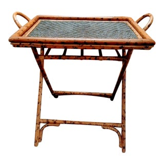 Vintage Burnt Bamboo Weaved Rattan Standing Floor Removable Tray Table With Stand For Sale