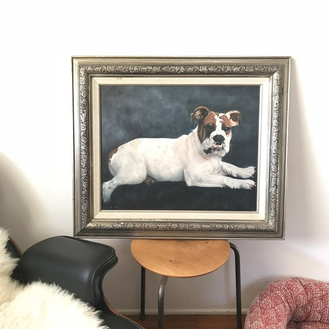"2000s Portraiture Framed Oil Painting, ""Bulldog Portrait"" For Sale - Image 4 of 7"