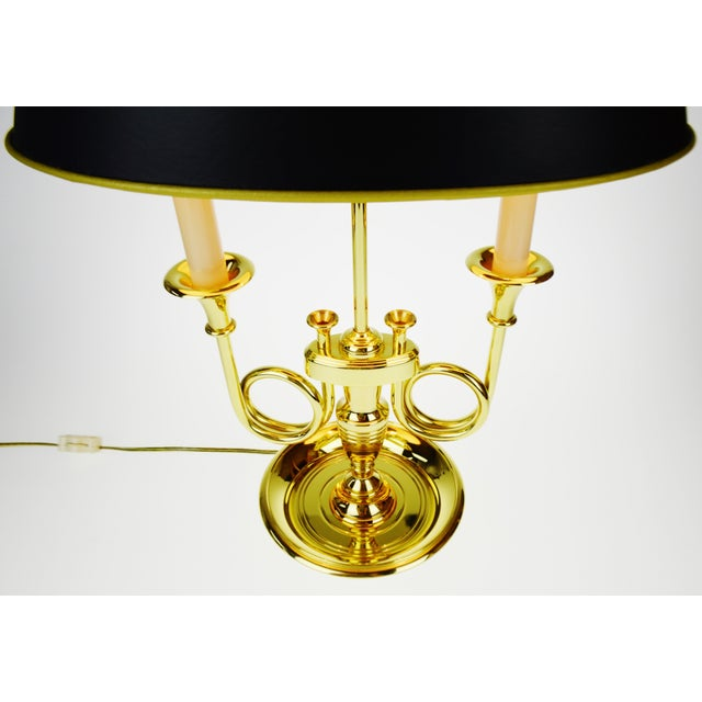 Vintage 1960's Baldwin Brass French Horn Bouillotte Table Lamp For Sale - Image 5 of 11