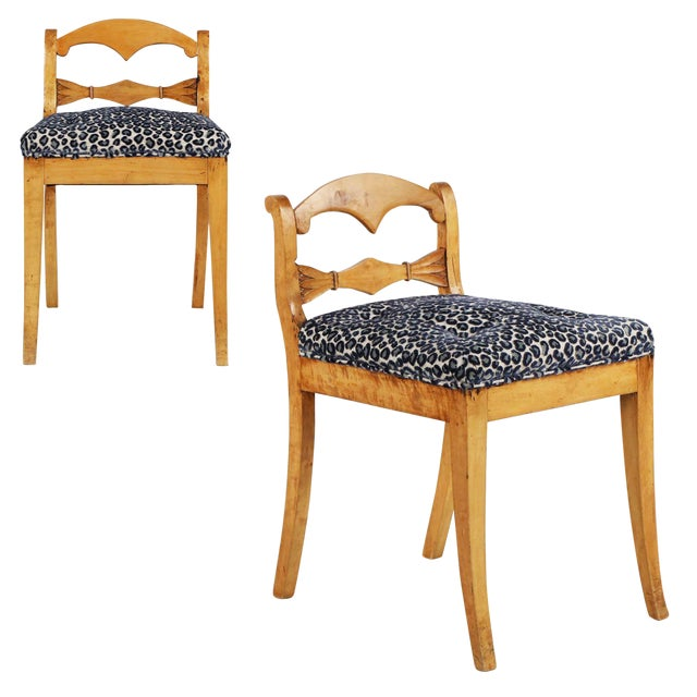 19th Century Biedermeier Style Carved Fruitwood Lowback Side Chairs - a Pair For Sale