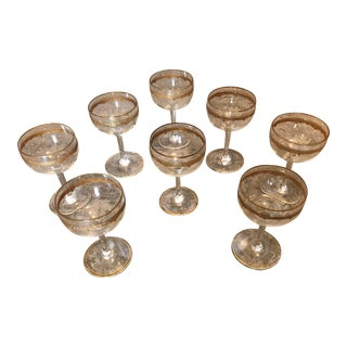 Crystal Stemmed Sherry or Liquor Glasses With Gold Trim - Set of 8 For Sale
