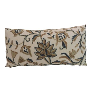 Vintage Crewel Work Floral Decorative Bolster Pillow