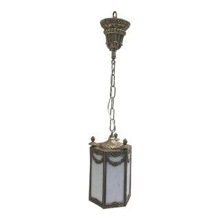 Vintage Slag Glass Nickel Finish Hanging Fixture For Sale