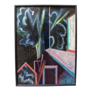 George Hurt Signed Surrealist Door House Painting For Sale