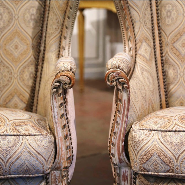 Wood 19th Century Louis XVI Carved and Painted Ear Shape Fauteuils - a Pair For Sale - Image 7 of 13