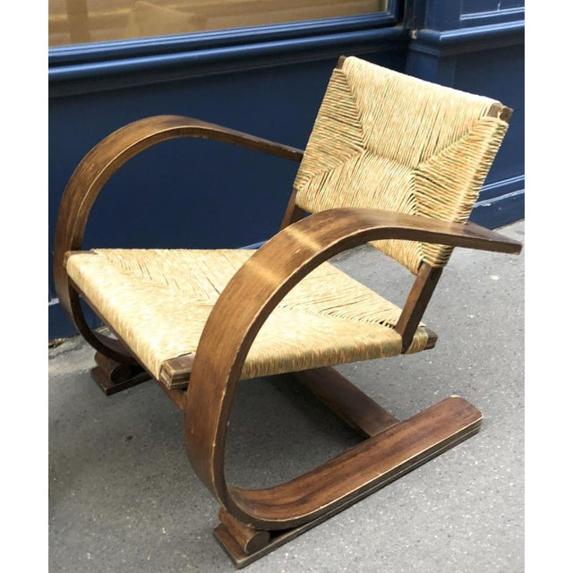 Mid-Century Modern Audoux Minet Pair of Bent Wood Lounge Chair With a Rare Rush Cover For Sale - Image 3 of 7