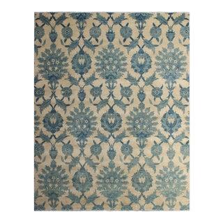 Kafkaz Peshawar Herbert Ivory/Blue Wool&Silk Rug - 7'11 X 10'3 For Sale