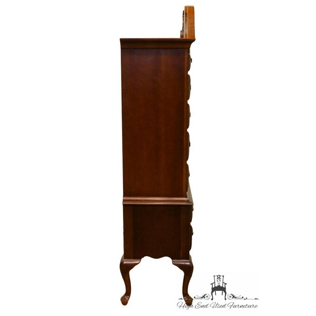 20th Century French Stanley Furniture Cherry Pediment-Top Highboy Chest For Sale - Image 9 of 13