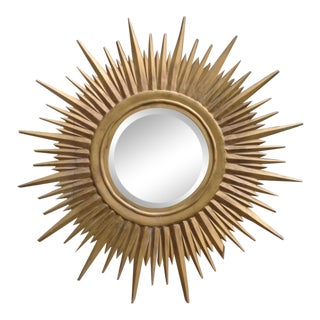 Hand-Carved Sunburst Mirror For Sale
