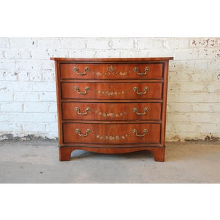 Drexel Heritage Satinwood Hand Painted Chest of Drawers For Sale