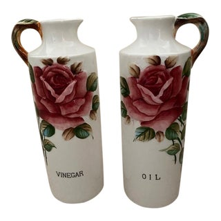 Lefton Oil and Vinegar Set in Americana Rose Pattern - Set of 2 For Sale